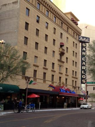 The Hotel San Carlos is located in downtown Phoenix on Central and Monroe