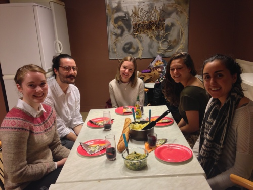 "I hosted a ""Francegiving"" with anglophone friends and fellow blogger JoAnna Kroeker (second from right) the Friday after Thanksgiving Day."