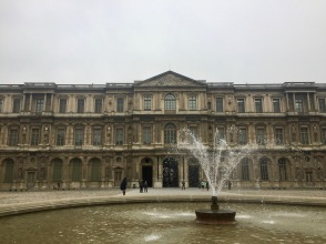 An interior courtyard outside the Louvre.