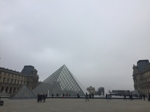 The iconic glass pyramids were constructed in the late 1980s.