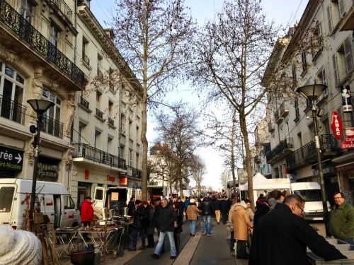 An unexpected surprise to an otherwise sleepy town, a flea market populated the streets of Saumur.