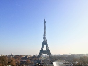 The Eiffel Tower as seen from the terrace off the metro stop.