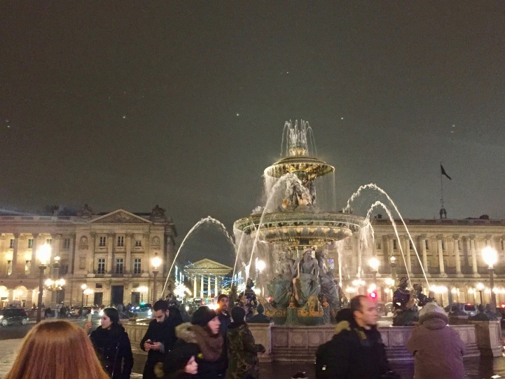 Beautiful fountain in Place de la Concorde