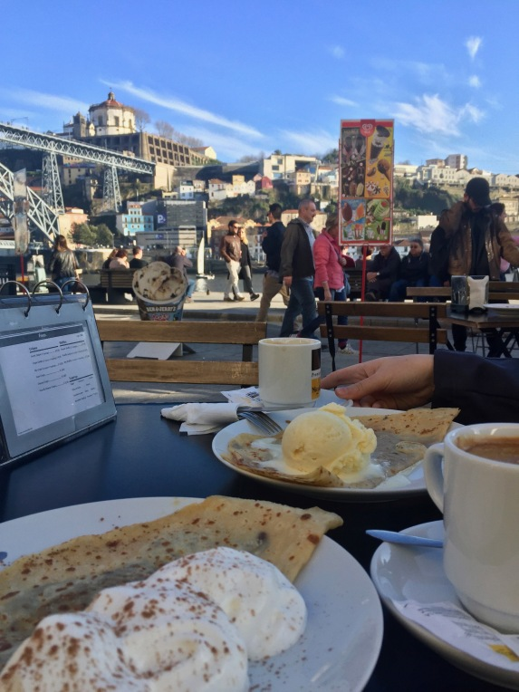 A delicious crepe while listening to music and watching people enjoy their afternoon.