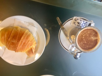 Portuguese croissant and cafe to start my day. I bought a second croissant for a snack later on.