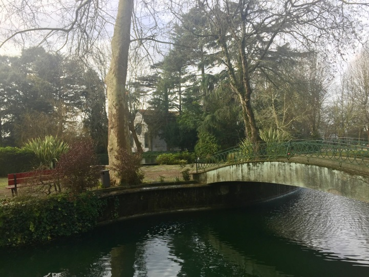 A scenic lake in Crystal Gardens.