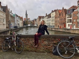 Cycling through Brugge's historical city center
