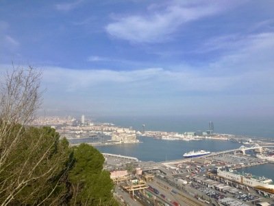 Looking north to the Barcelona coast on the climb up Mount Monjuïc.