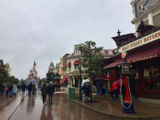 A rainy Main Street welcomed us into the park.